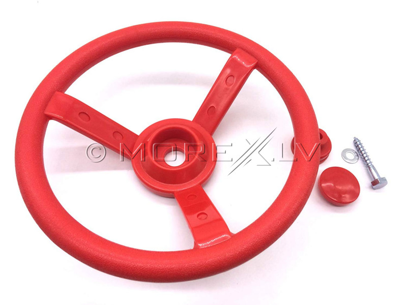 Kids steering wheel with hardware, with a car horn sound, КВТ, Ø 300 mm, red