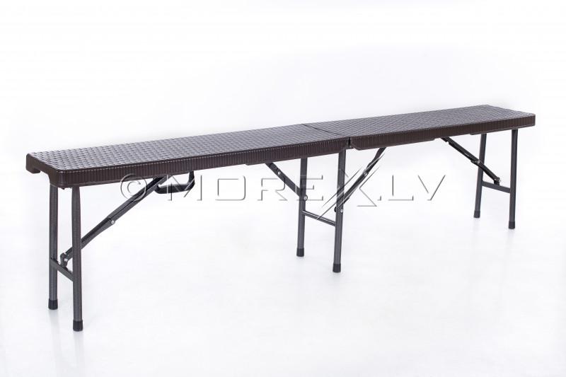 Saliekams galds ar rotangpalmas dizainu 180x72 cm + 2 soli