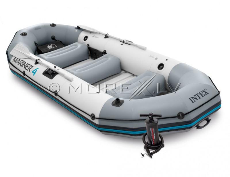 Piepūšamā četrvietīga laiva Intex MARINER 4 Boat Set ar CIETO grīdu (328x145x48)