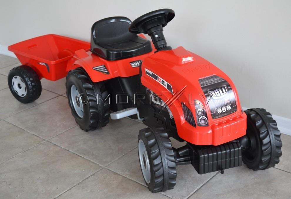 Bērnu traktors ar piekabi - Smoby Red (rotaļlieta)