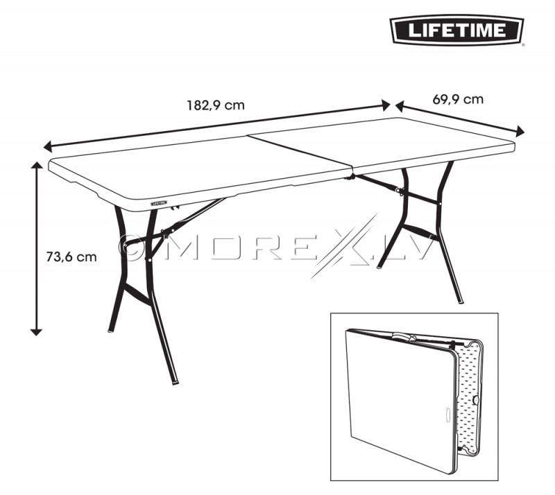 Lifetime 80642 Fold-in-Half Table Lifetime 183x70cm