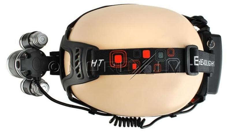 LED headlamp, 4 modes, 3 lamps