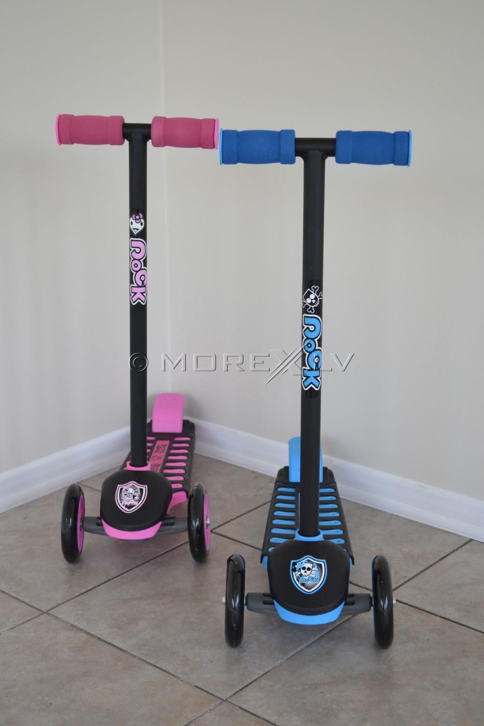 Самокат с двумя управляемыми колёсами - розовый