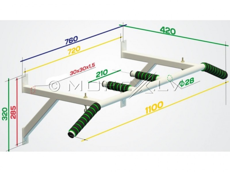 "Horizontal bar wall ""Light""Wall Pull Up Bar ""Light"" (00002)"