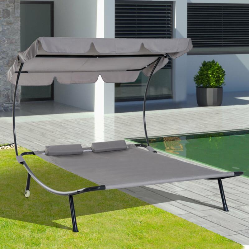 Dārza atpūtas gulta ar regulējamu jumtu divguļama, pelēka