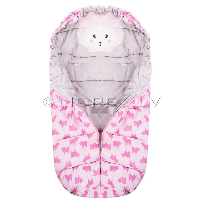 Bērnu guļammaiss pastaigām SB007 rozā ar apdruku