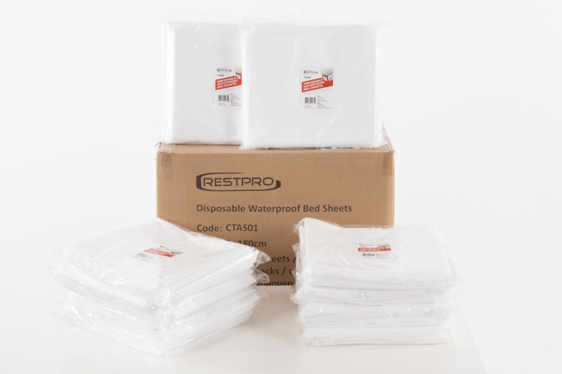 Disposable Waterproof Bed Sheets - 80x180 cm, 100 pack