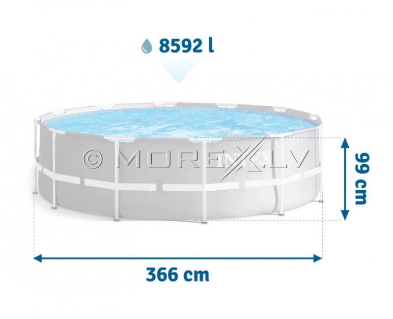 Karkasa baseins Intex Prism Frame Premium Pool Set 366x99 cm, ar filtra sūkni un aksesuāriem (26716)