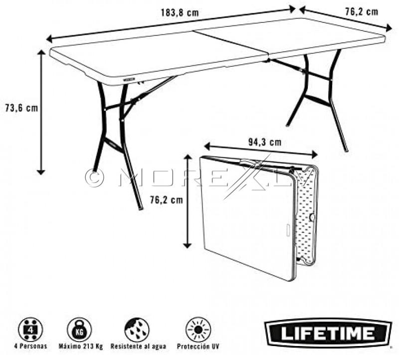 Lifetime 80471 Saliekamais galds 183x76 cm