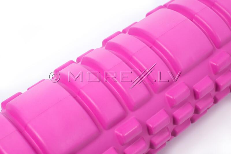 Masāžas jogas pilates putu rullis Yoga Roller 14x62cm, rozā