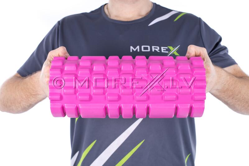 Masāžas jogas pilates putu rullis Grid Roller, rozā