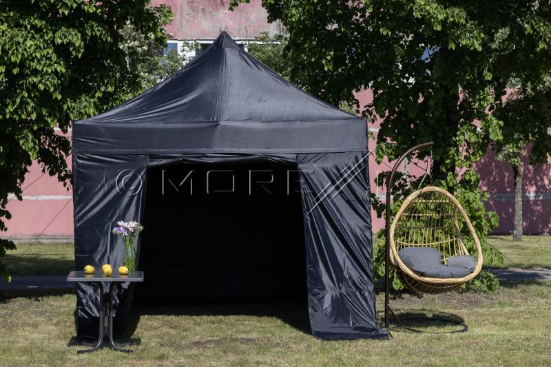 Pop Up Saliekamā nojume 2.92x2.92 m, ar sienām, Melna, H sērija, tērauds (tents, paviljons, telts)