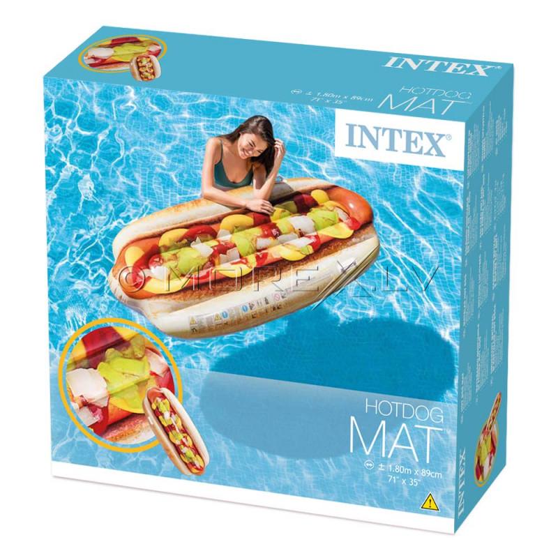 Pludmales piepūšamais matracis Hotdogs, Intex 180x89 cm (58771)
