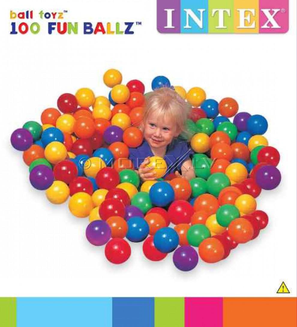 Krāsainas bumbas atrakcijām 100gb. - mazas, 6.5cm (Intex 49602NP)