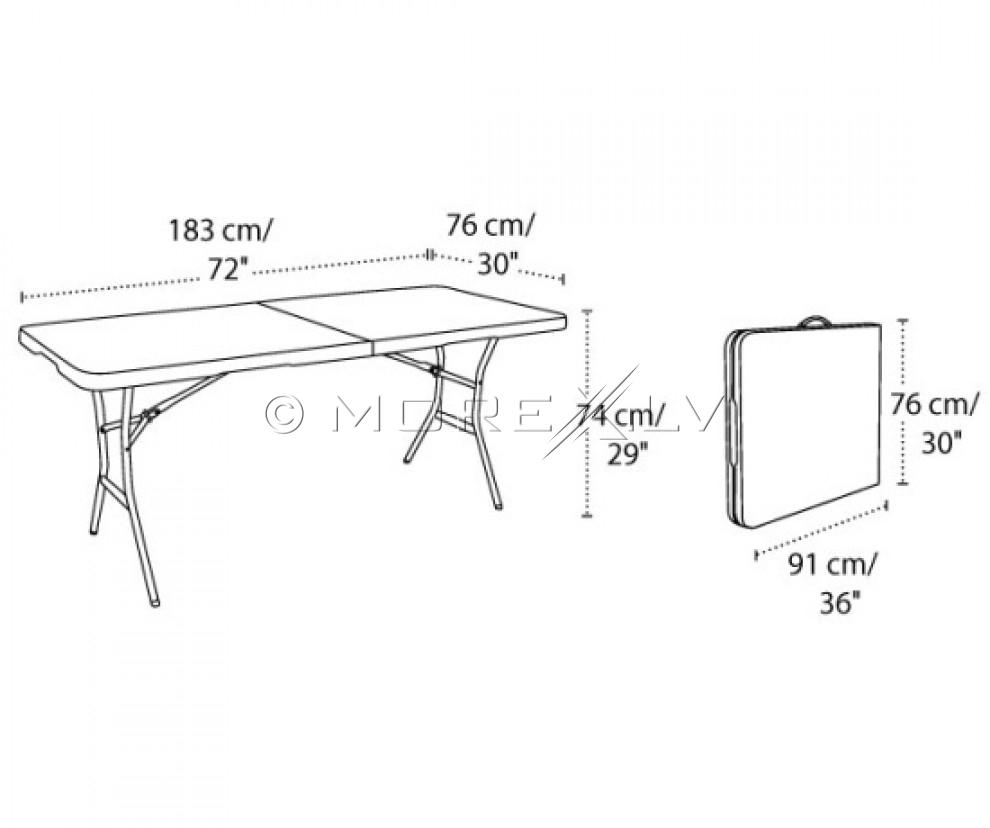 Saliekamais galds 183x76cm + 6 krēsli