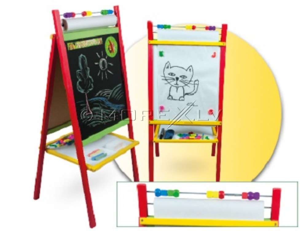 3toysM Сhildren's double-sided whiteboard with drawing paper (45x40x100cm)