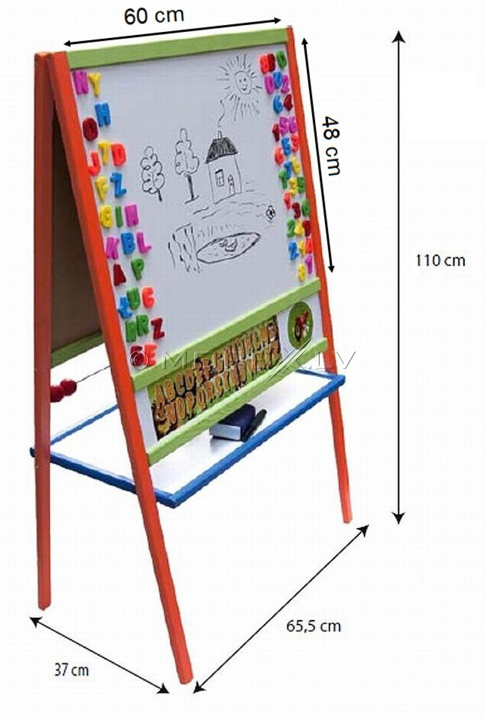 Double-sided wooden board for kids MCBL (37x66x110сm)
