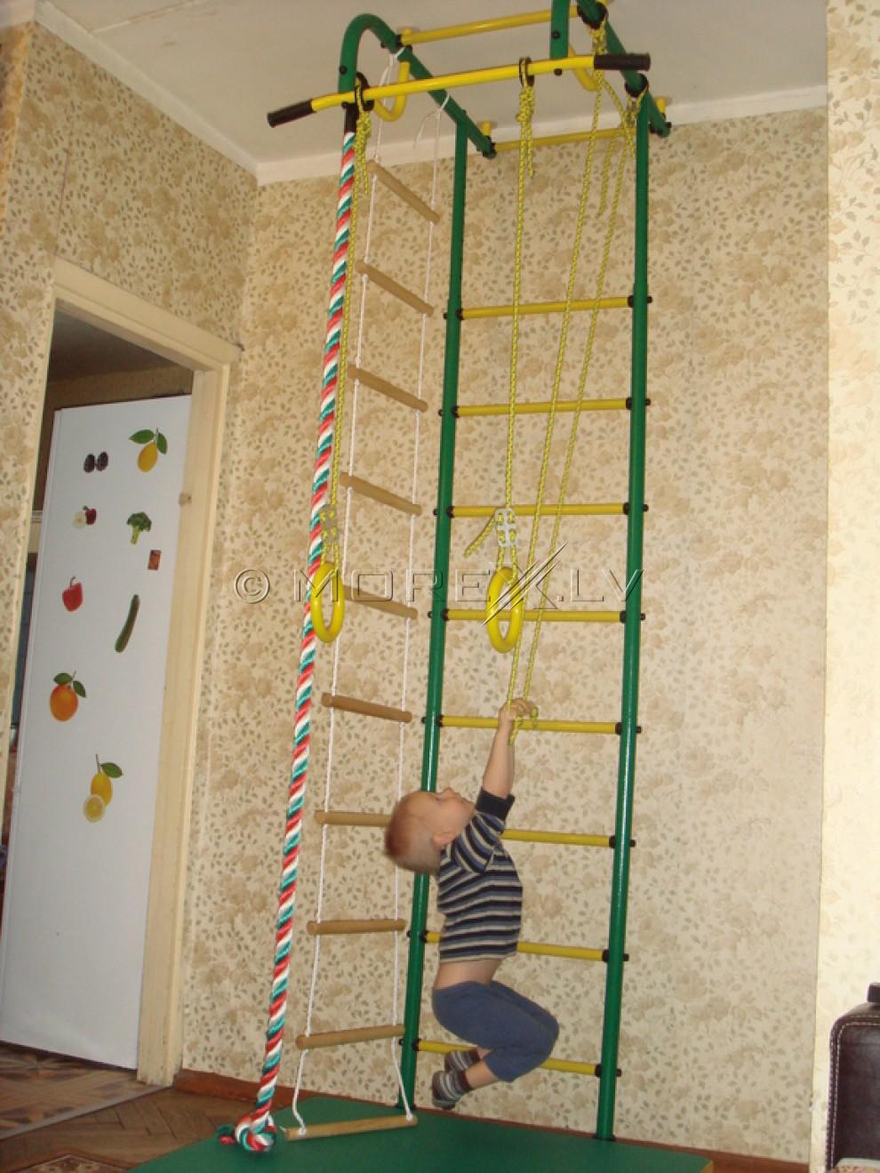 Детский спортивный комплекс Пионер-1 зелено-жёлтый (шведская стенка)