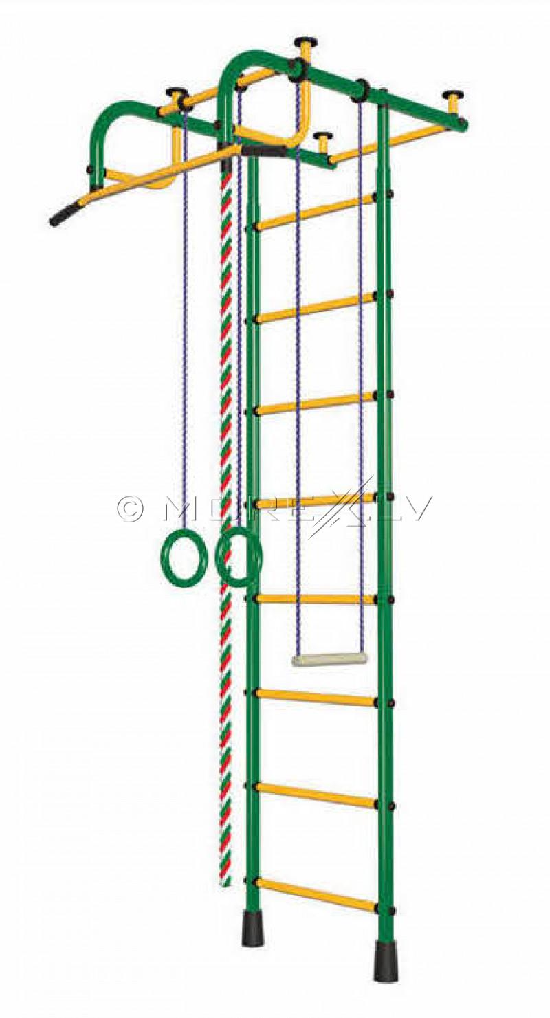 Bērnu sporta komplekss Pioner-1 zaļi-dzeltens (zviedru siena)