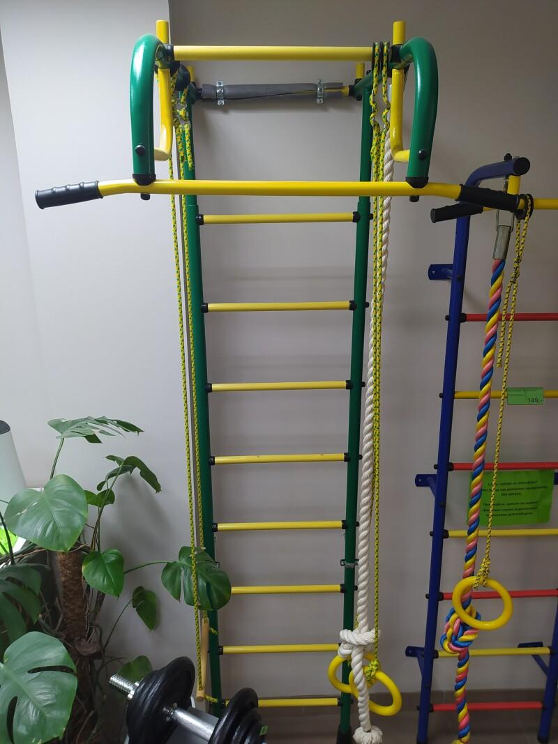 DEMO Bērnu sporta komplekss Pioner-1 zaļi-dzeltens (zviedru siena)