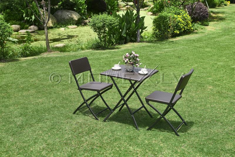 Saliekamais galds ar rotangpalmas dizainu 62x62x74 cm + 2 Krēsli