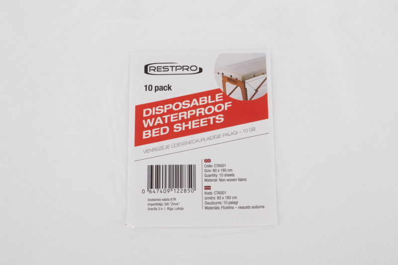 Disposable Waterproof Bed Sheets - 80x180 cm, 10 pack
