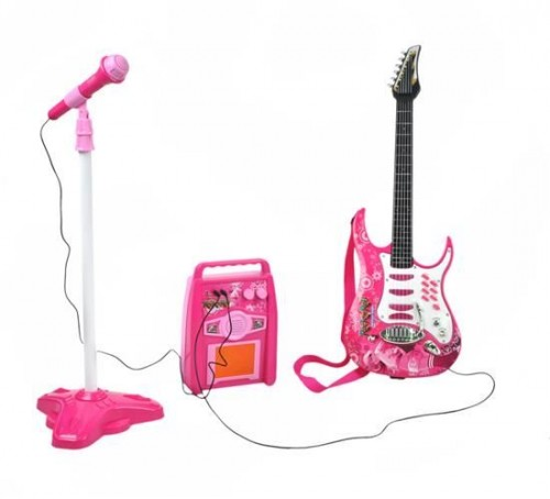 Toy Electric Guitar With an Amplifier and a Microphone