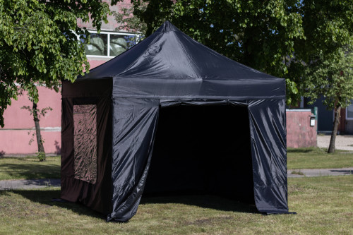 Pop Up portable folding tent with walls and roof 2.92x2.92 m, H series (black, steel frame, polyester 420D)