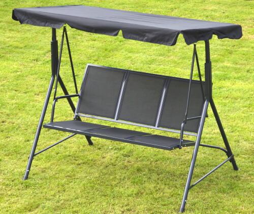 Garden swing 170x110x153 cm, 3-seat, black textilene