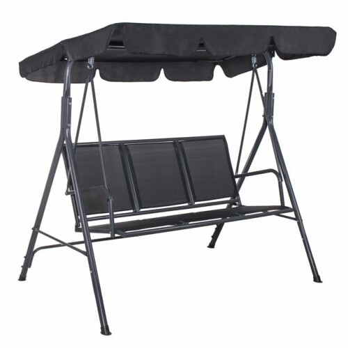 Garden swing 170x110 cm, 3-seat, black