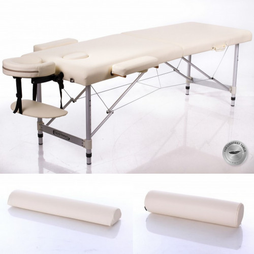 RESTPRO® ALU 2 L Cream Set masāžas galds + masāžas ruļļi (Komplekts)