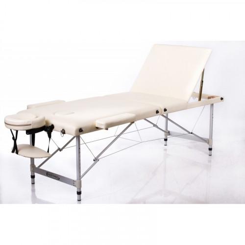 RESTPRO® ALU 2 M Cream Set massage table + massage rollers (3-pack)