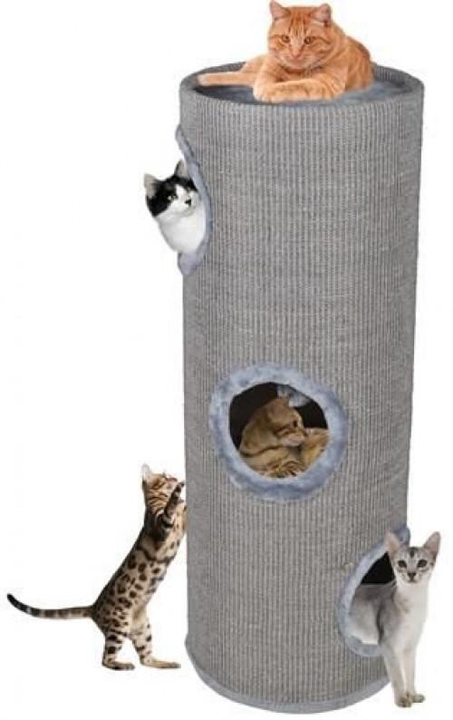 Kaķu māja nagu asināmais CAT005P-3, 100 cm, pelēka