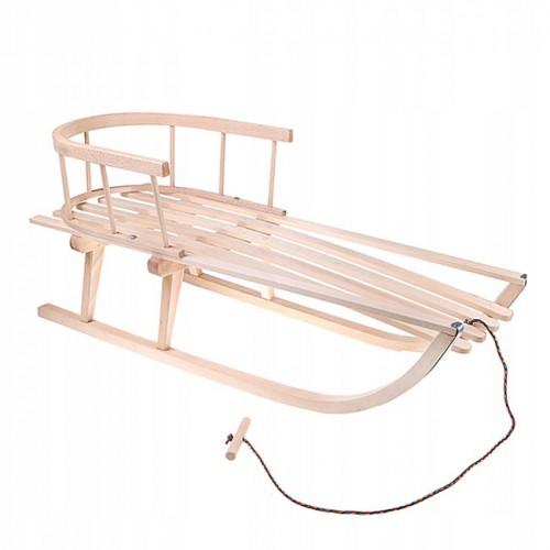 Wooden sledge with backrest SAN001 (Poland)