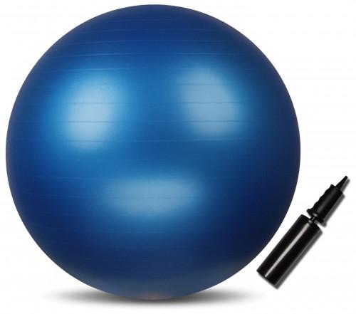Fitnesa vingrošanas bumba ''INDIGO'', Anti-burst ar pumpi, d-85 cm, zīla