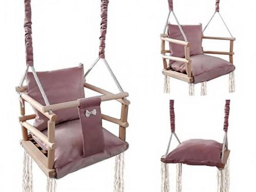 Деревянные детские качели-кресло, 3в1, коричневый