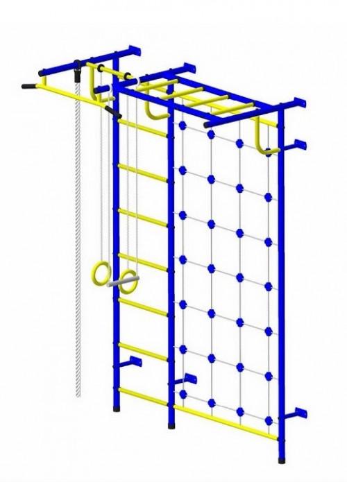 Bērnu sporta komplekss Pioner-C4C zili-dzeltens (zviedru siena)