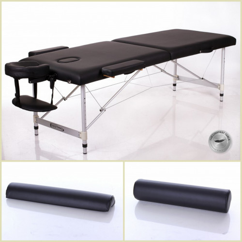 RESTPRO® ALU 2 L Black Set masāžas galds + masāžas ruļļi (Komplekts)