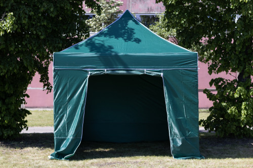 Pop Up Saliekamā nojume 2.92x2.92 m, ar sienām, Zaļa, H sērija, tērauds (tents, paviljons, telts)