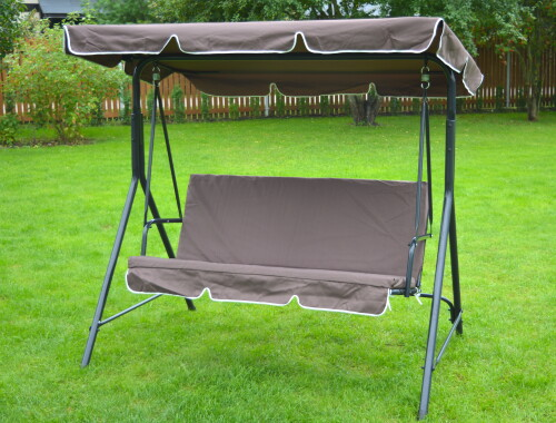 Garden swing 170x110x153 cm, 3-seat, brown