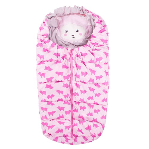 Детский спальный мешок для прогулок SB007 розовый с принтом