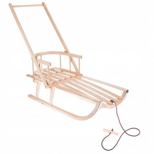 Wooden sledge with backrest and handle SAN002 (Poland)