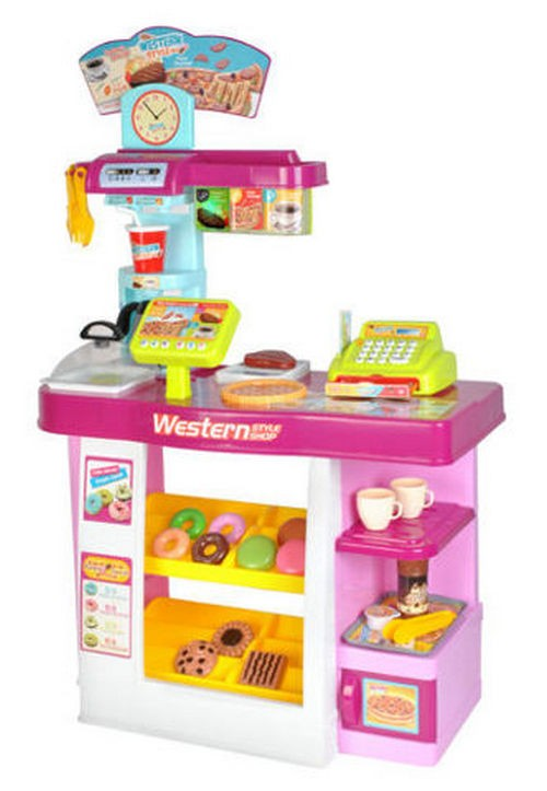 Toy supermarket set with a till, dishes and food (00006081)