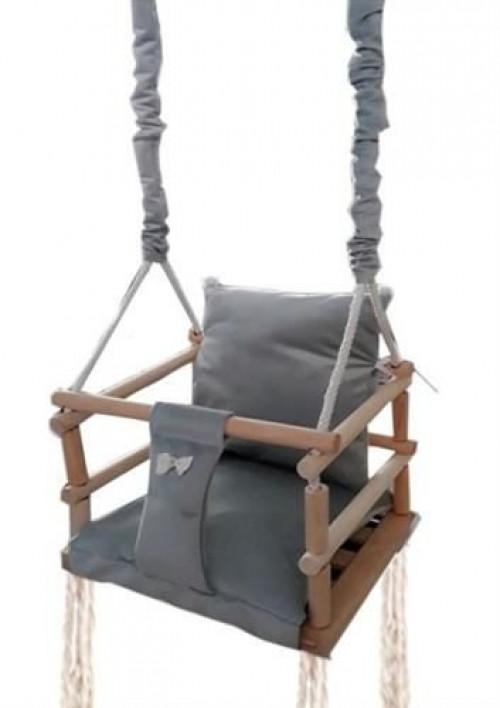 Bērnu koka šūpoles-krēsls, 3 in 1, pelēks