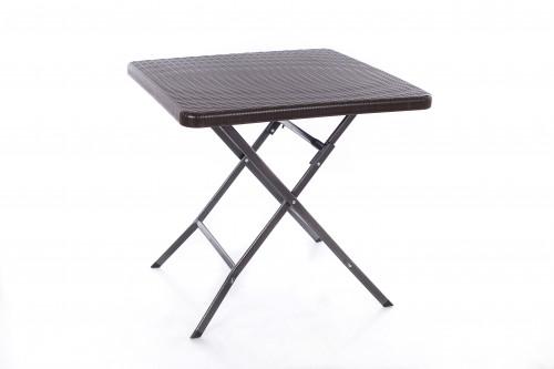 Saliekamais kvadrātveida galds ar rotangpalmas dizainu 78x78x74 cm