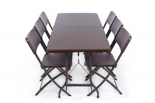 Saliekams galds ar rotangpalmas dizainu 180x72 cm + 6 Krēsli
