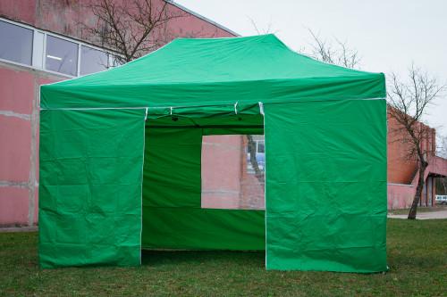 Pop Up Saliekamā nojume 3x4.5 m, ar sienām, Zaļa, X sērija, alumīnijs (tents, paviljons, telts)