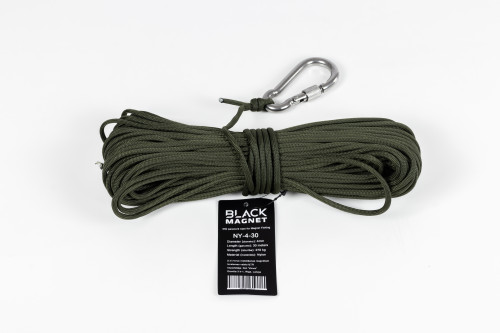 4 mm x 30 m virve parakords Black Magnet meklēšanas magnētam