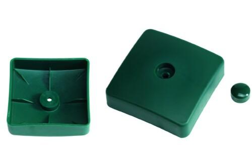 Plastic cover for square poles, 100х100 mm, green