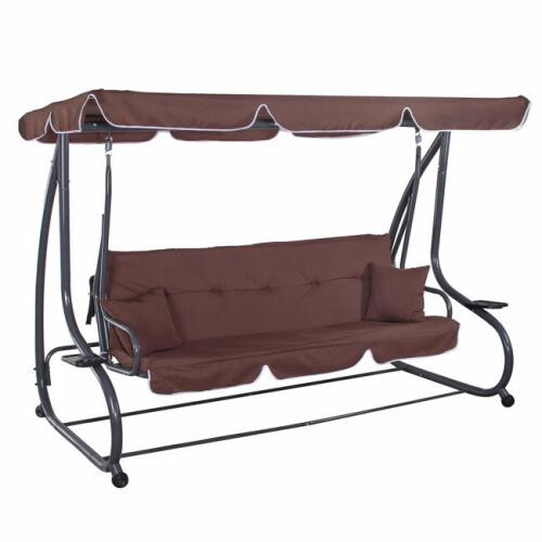 Garden swing 230x120x170 cm, 4-seat, brown
